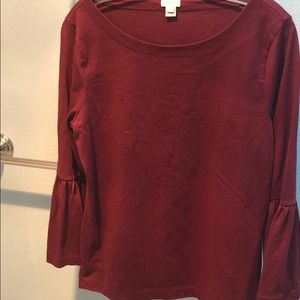 J.Crew M Cotton Burgundy bell sleeve top, perfect